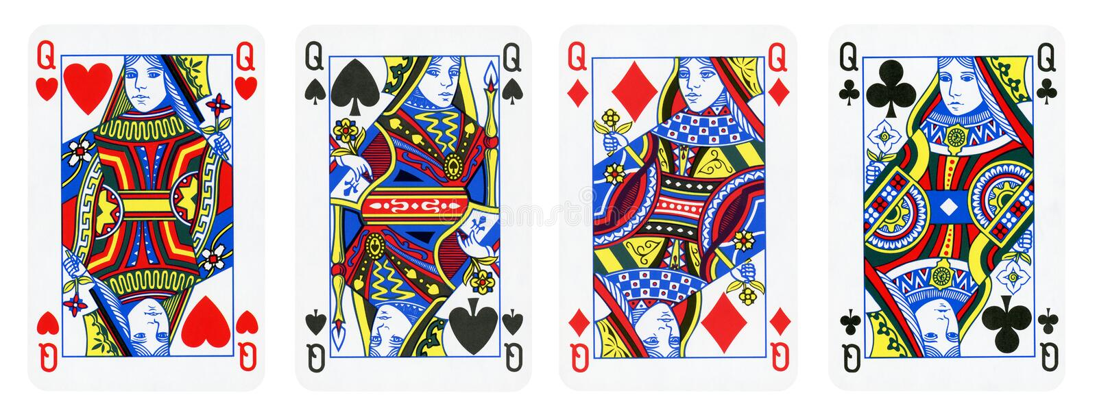 Four Queens Playing Cards - isolated on white royalty free stock photo