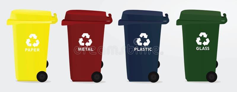 Four recycle bins. Vector illustration stock illustration