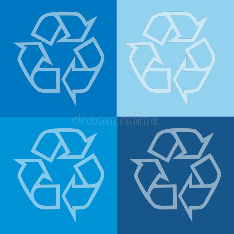 Four recycling images in shades of Blue royalty free stock photography