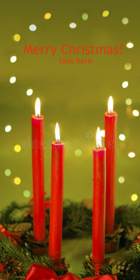Four red candle royalty free stock images