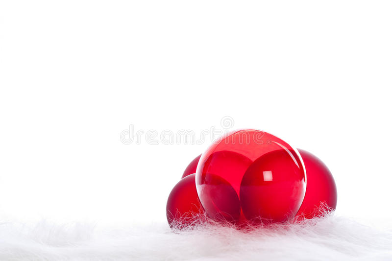 Four Red Christmas Baubles Royalty Free Stock Photos