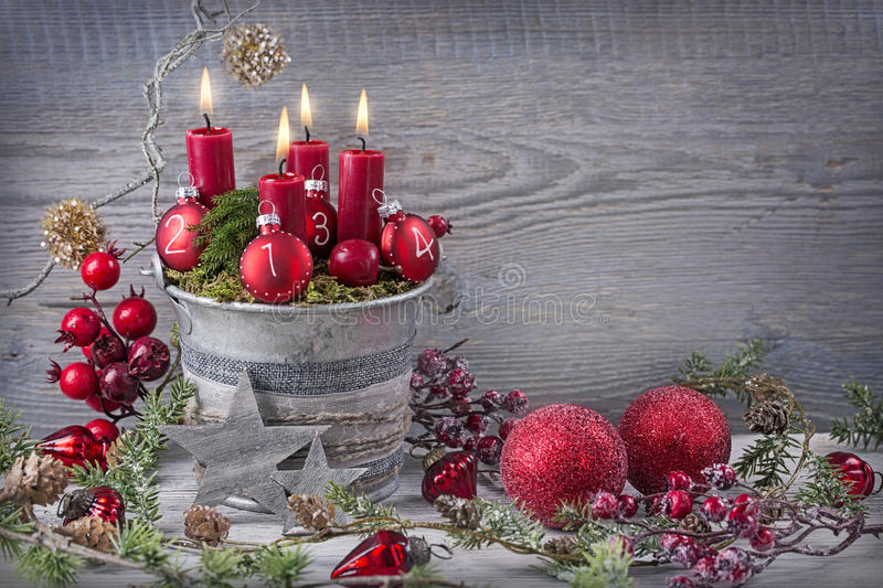 Four red christmas candle. For advent royalty free stock images