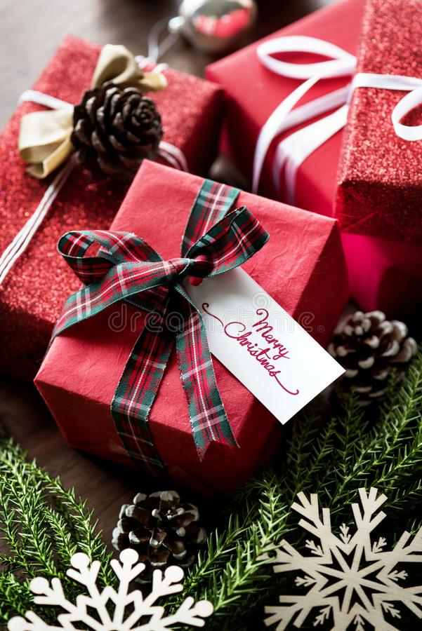 Four Red Gift Boxes royalty free stock photo