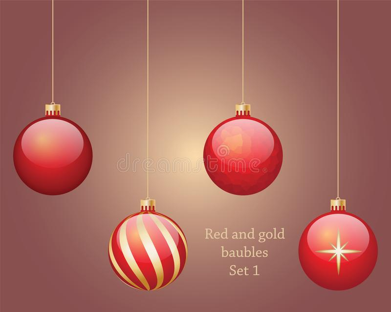 Red and gold baubles set 1. Four red and gold hanging Christmas baubles, isolated on background set 1 vector illustration