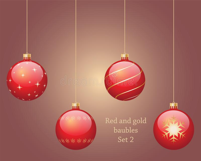 Red and gold baubles set 2. Four red and gold hanging Christmas baubles, isolated on background set 2 vector illustration