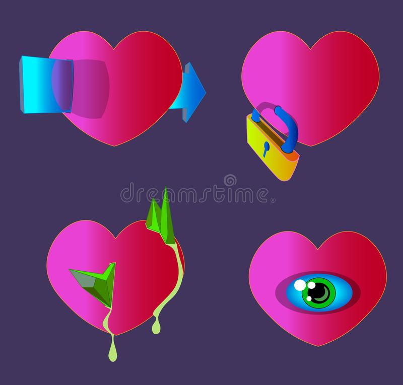 Four red hearts with their own features. vector illustration