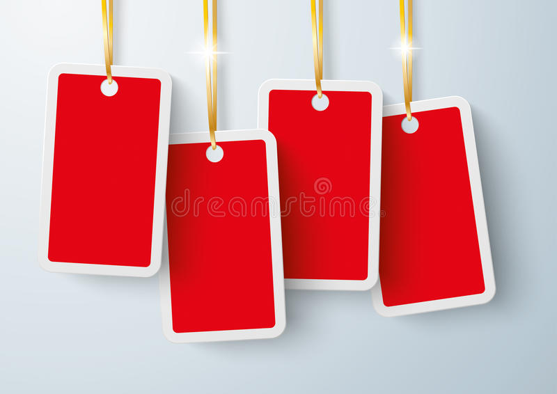 Four Red Price Stickers Golden Ribbons stock illustration