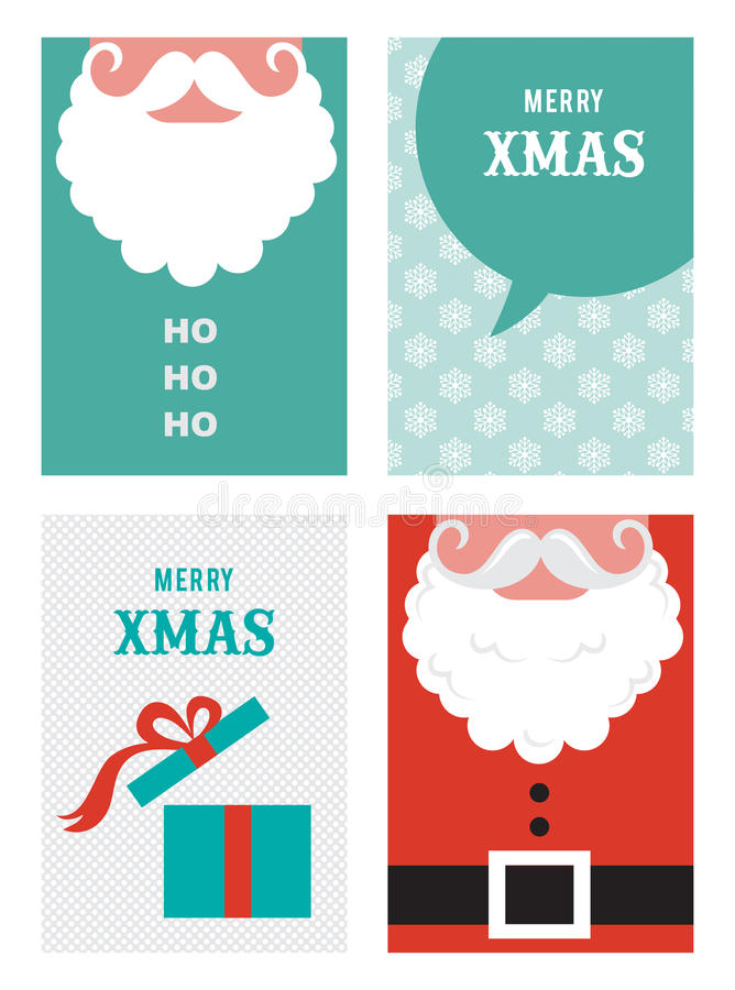 Four retro cards for Christmas in hipster style иллюстрация штока