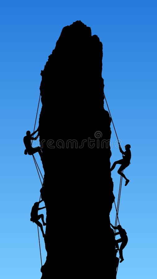 Four Rock Climbers royalty free illustration