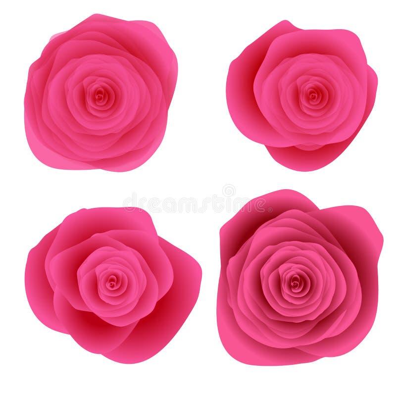 Four roses on white background royalty free stock photos