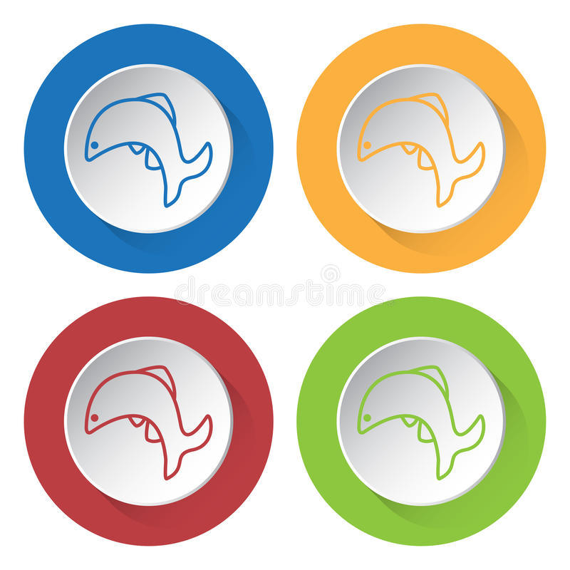 Four round color icons, jumping fish royalty free illustration