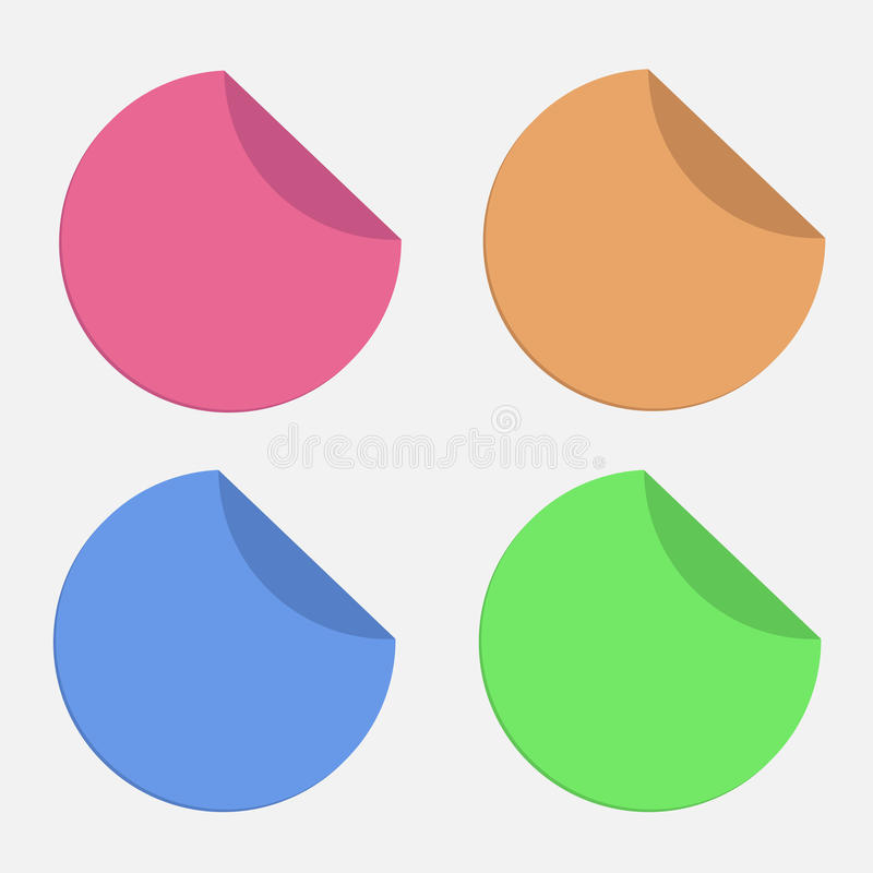 Download Four Round Stickers With Curved Area. Template. Se Stock Vector - Image: 36584322