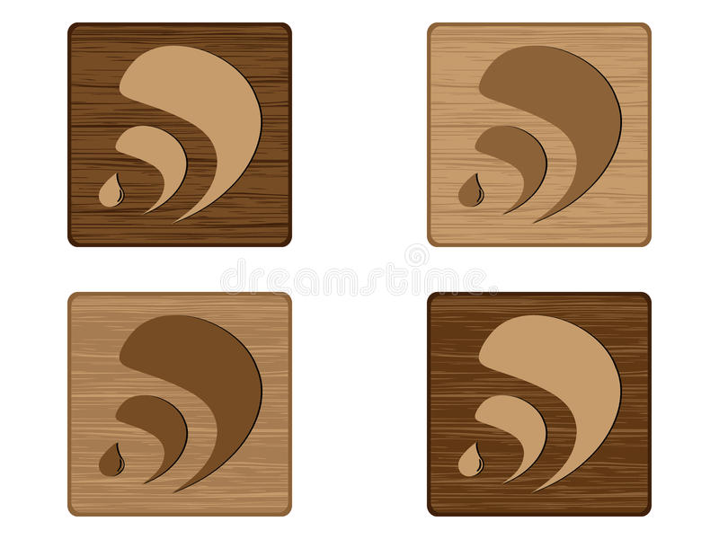 Four RSS wooden buttons vector illustration