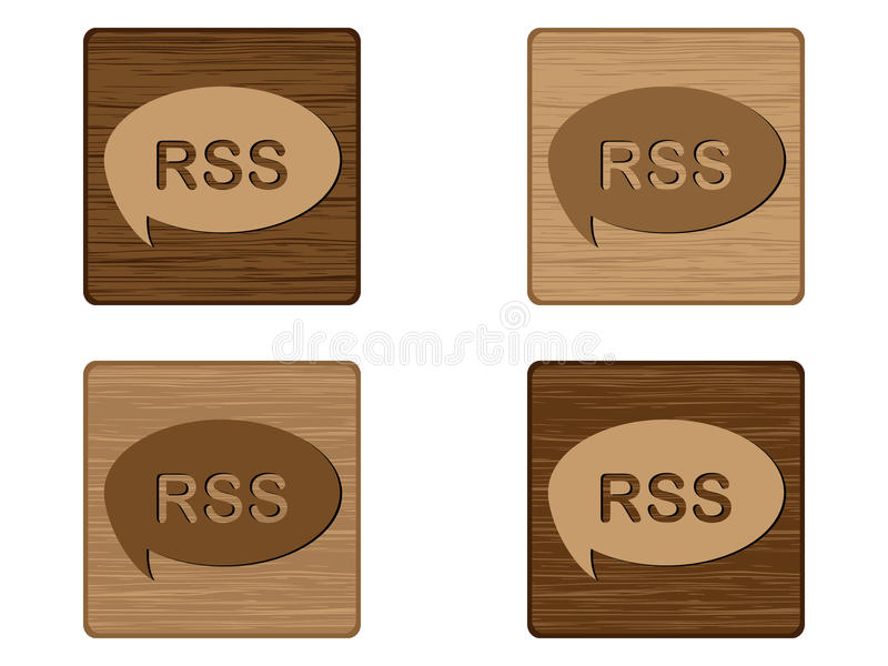 Four RSS wooden buttons royalty free illustration