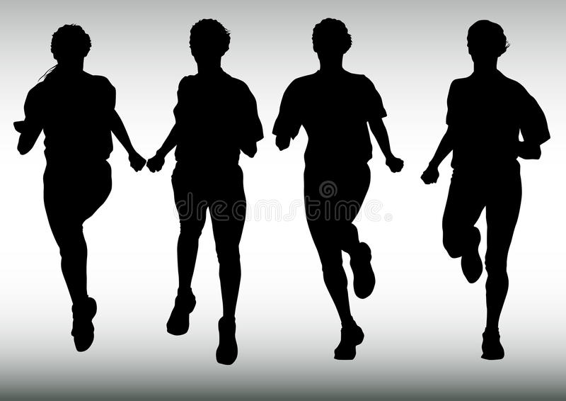 Four running girl. Vector drawing competitions in running. Silhouettes of crowd running royalty free illustration