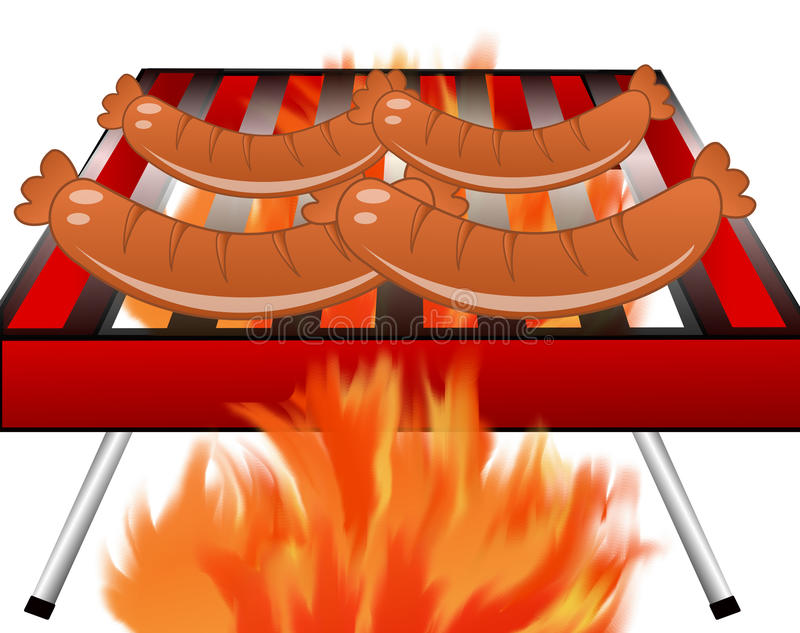 Four sausages broil on a grill. On a white background,illustration a raster royalty free illustration