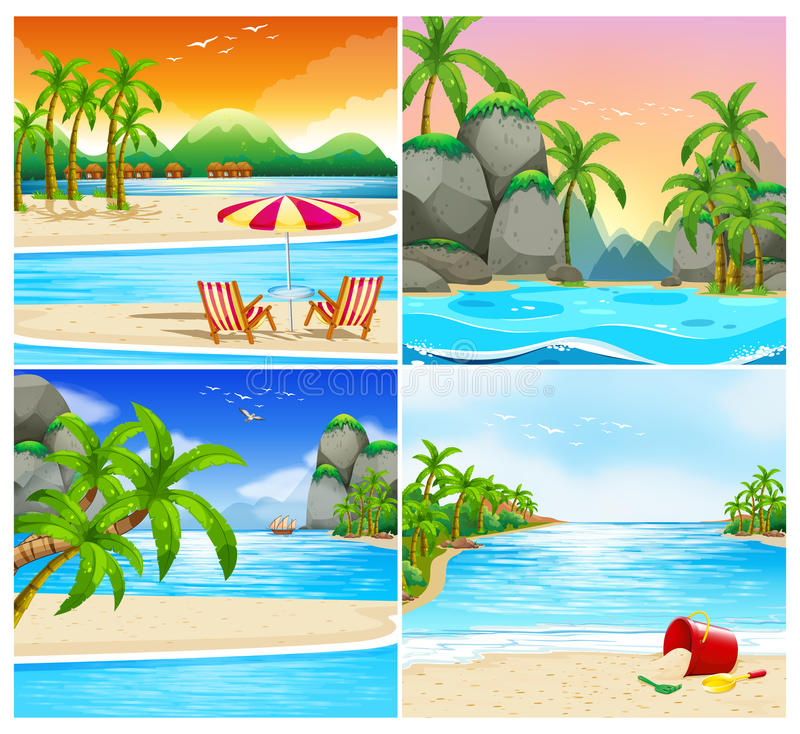 Island Beach Scenes: Island Scene With Huts And Palm Trees Stock Illustration