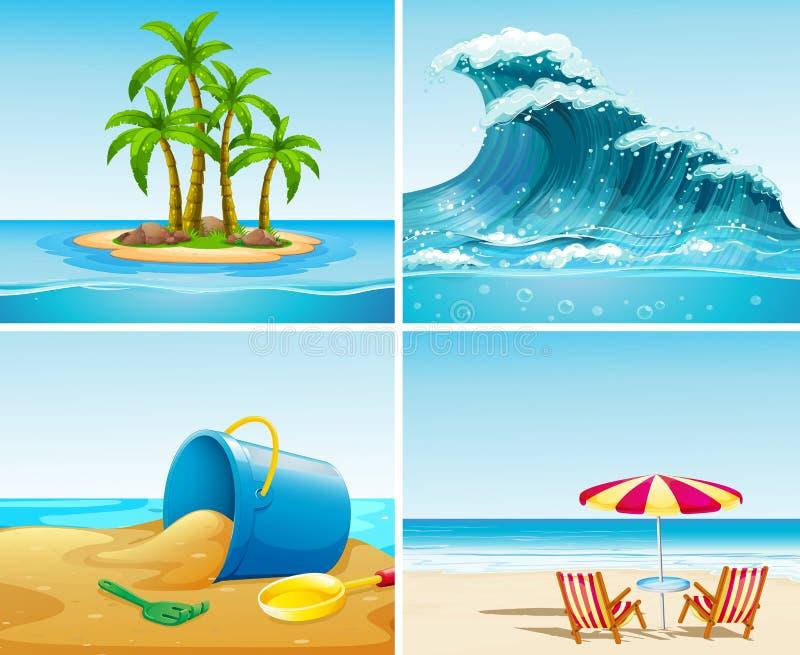 Four scene of ocean at summer time vector illustration