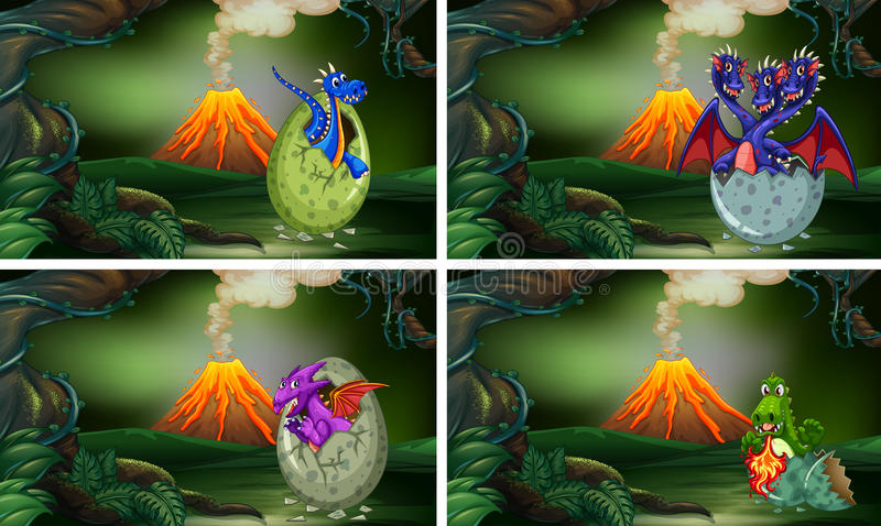 Four scenes with dinosaurs hatching eggs. Illustration stock illustration