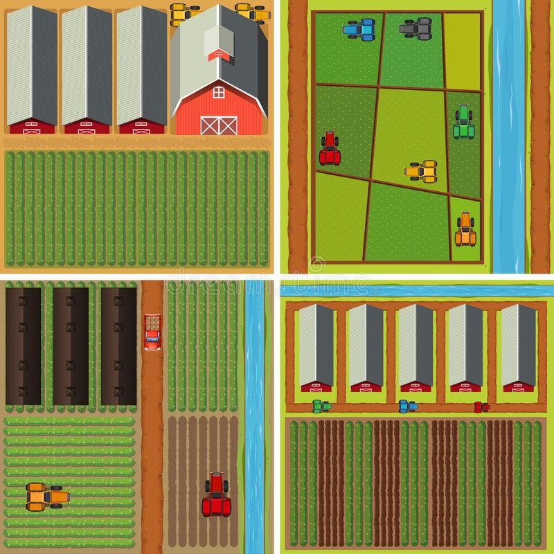 Four scenes of farmyard from top view stock illustration