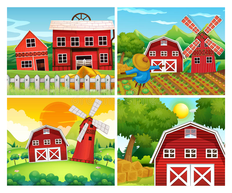 Four scenes of farmyards royalty free illustration
