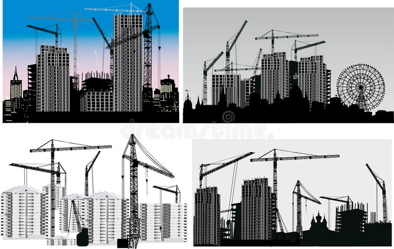 Download Four Scenes With House Building Stock Vector - Image: 16395768