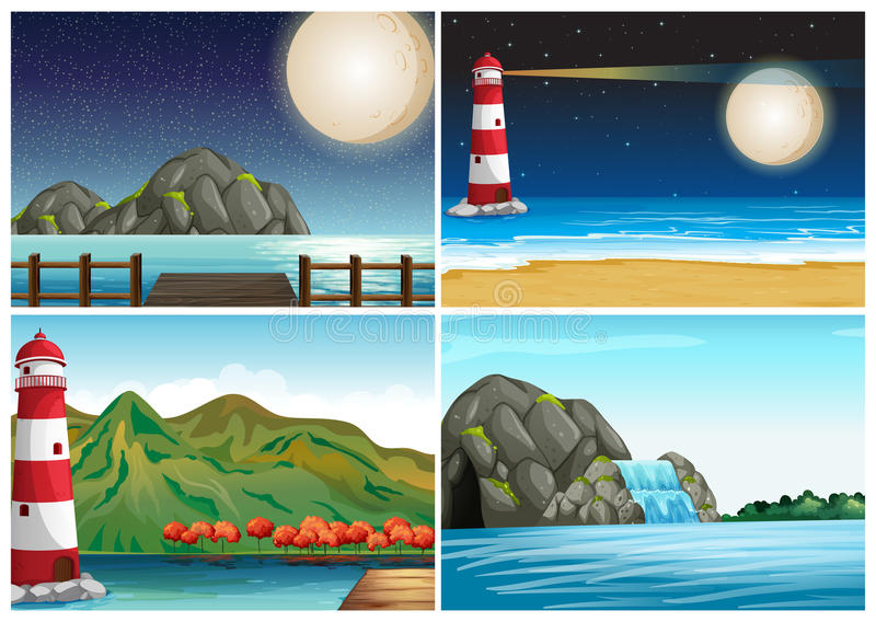 Four scenes with lighthouse and ocean stock illustration