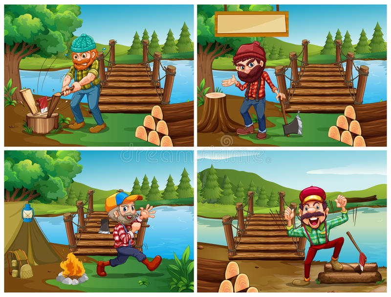 Four scenes with lumberjack and woods vector illustration