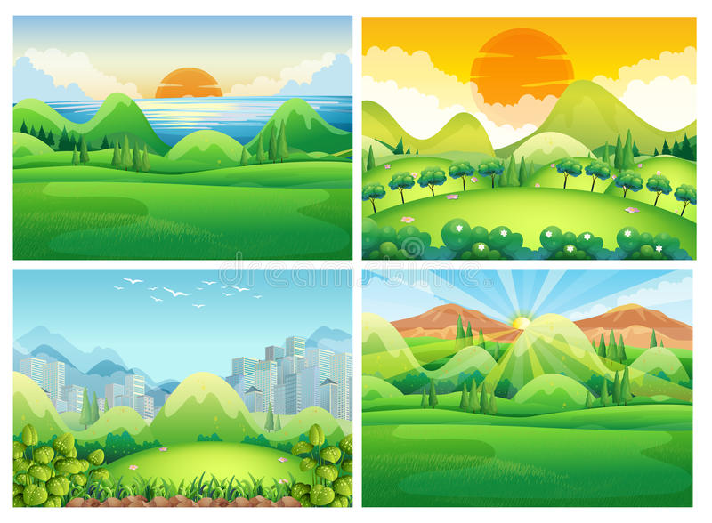 Four scenes of nature at daytime. Illustration stock illustration