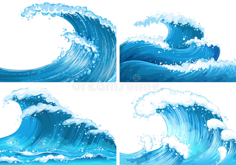 Four scenes of ocean waves vector illustration