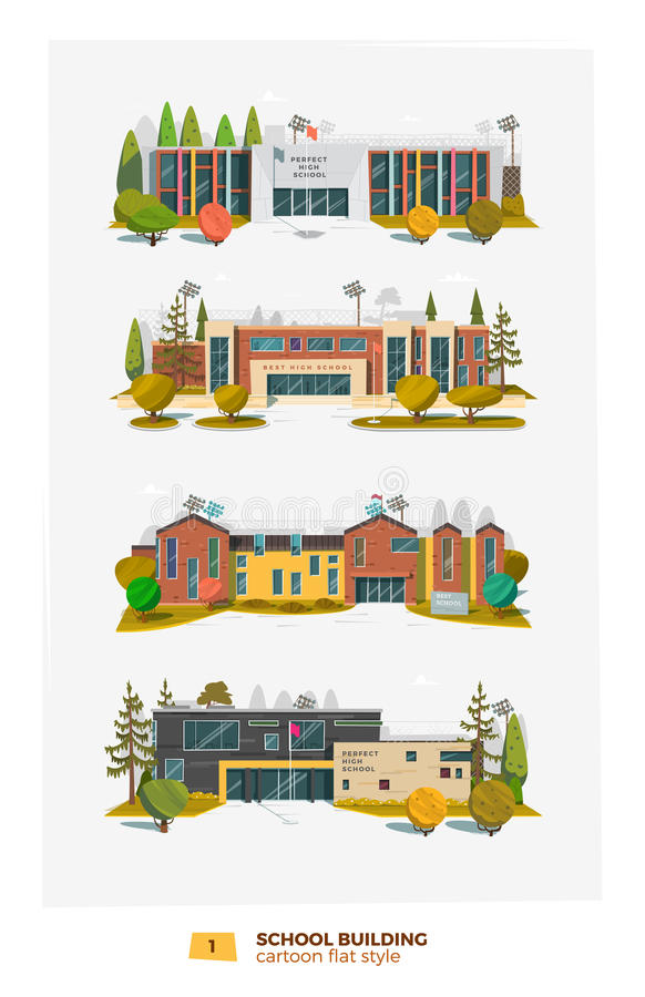 Four school building stock illustration