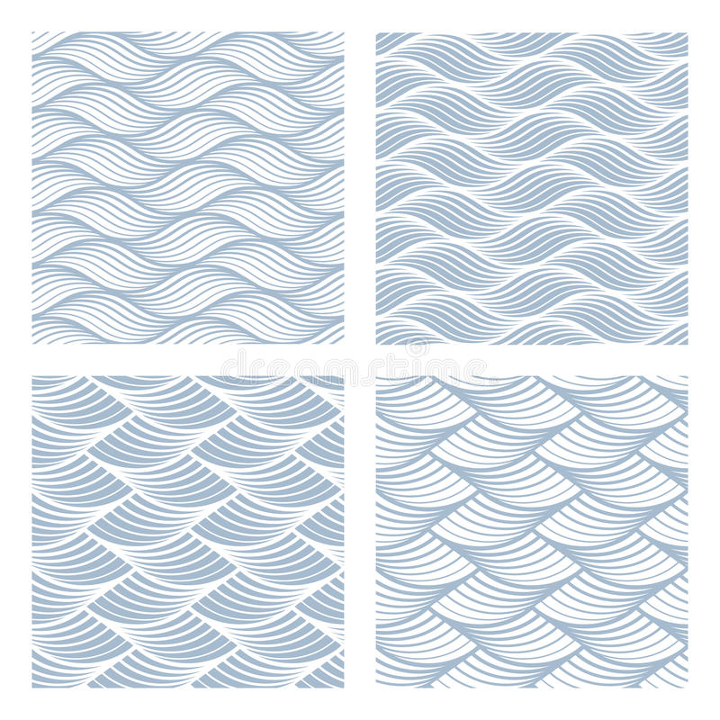 Four sea waves Seamless Patterns royalty free illustration