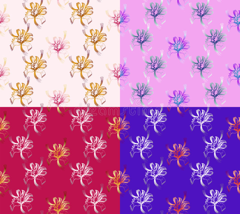 Four Seamless Abstract Floral Patterns. Set of backgrounds of different colors. Exclusive decorations royalty free illustration