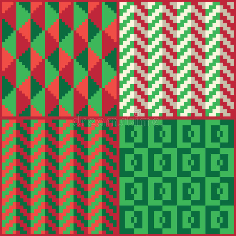 Four Seamless abstract geomatric pixel Christmas patterns vector illustration