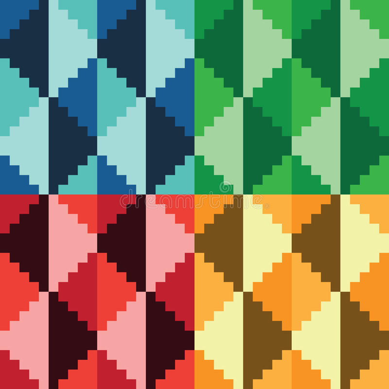 Four seamless abstract geomatrical pixel diamond patterns vector illustration