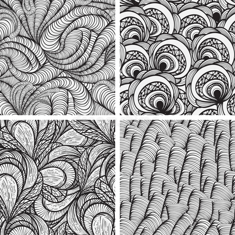Four seamless funky patterns royalty free illustration