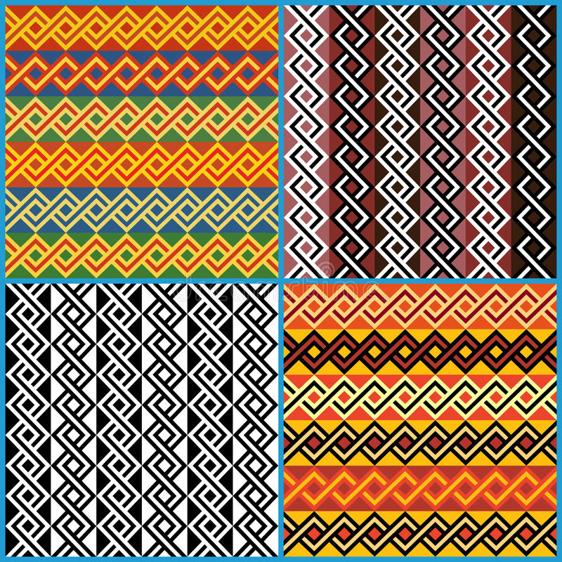 Four seamless ornaments on African ethnic motifs. Four different vector seamless ornaments on African ethnic motifs in a single file vector illustration