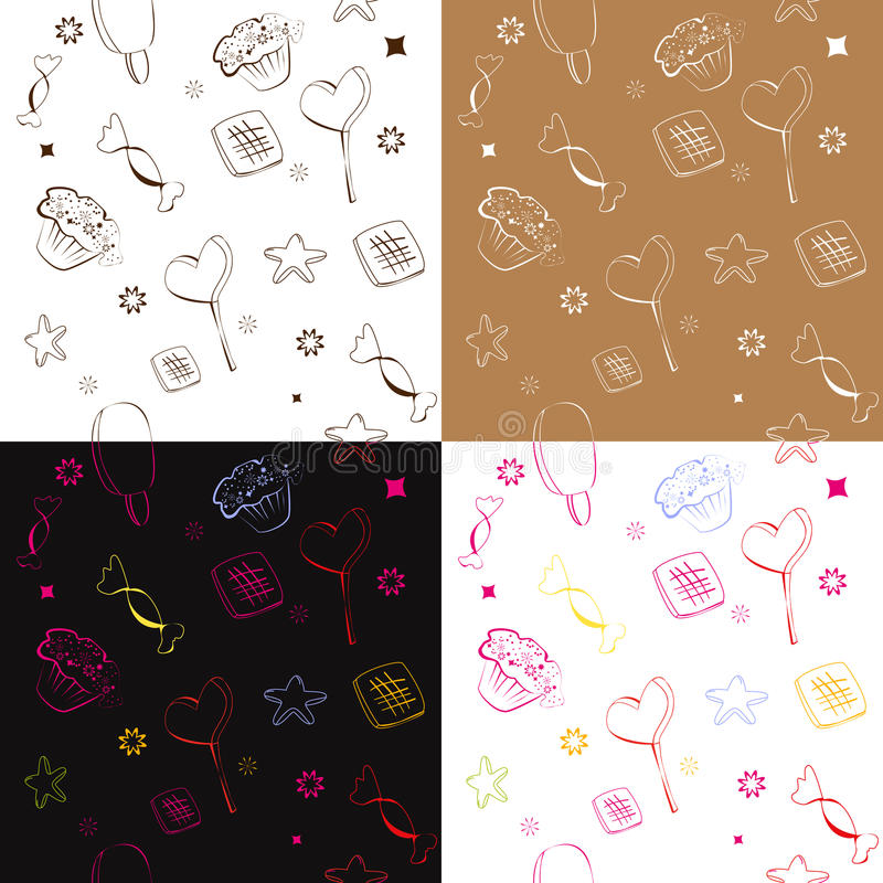 Download Four seamless pattern stock vector. Illustration of muffin - 12960467