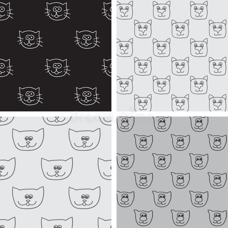 Four seamless pattern with cat faces. Endless texture can be used for printing onto fabric, paper or scrap booking, wallpaper, pattern fills, web page vector illustration