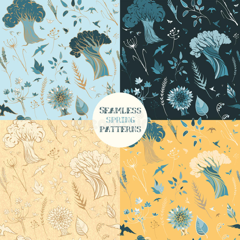 Four seamless spring patterns with plants, birds and butterflies vector illustration