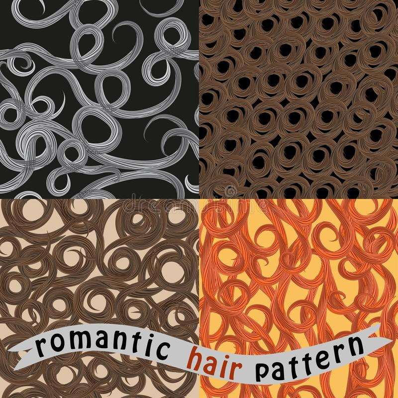 Four seamless wave pattern hair stock illustration