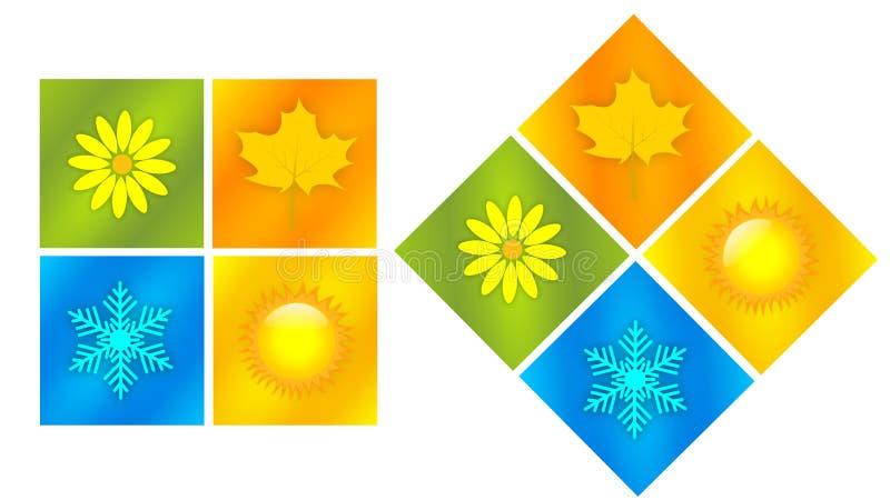 Four season. Illustration of nature symbols. Four season icons royalty free illustration
