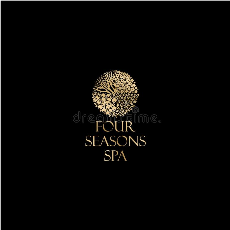 Four season logo. Spa and resort emblem. A beautiful golden logo like a tree with branches, leaves, and fruits. vector illustration