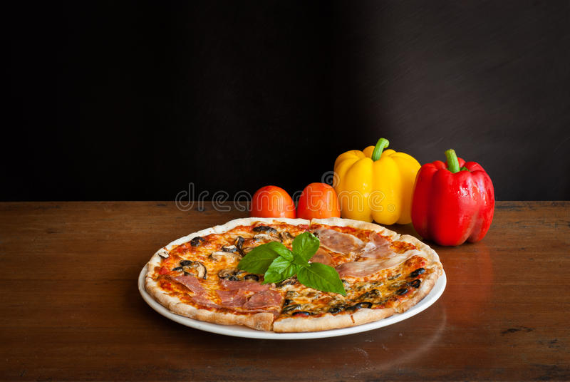 Amazing Download Four Season Pizza Slice Stock Photo. Image Of Basil, Plate    49683174
