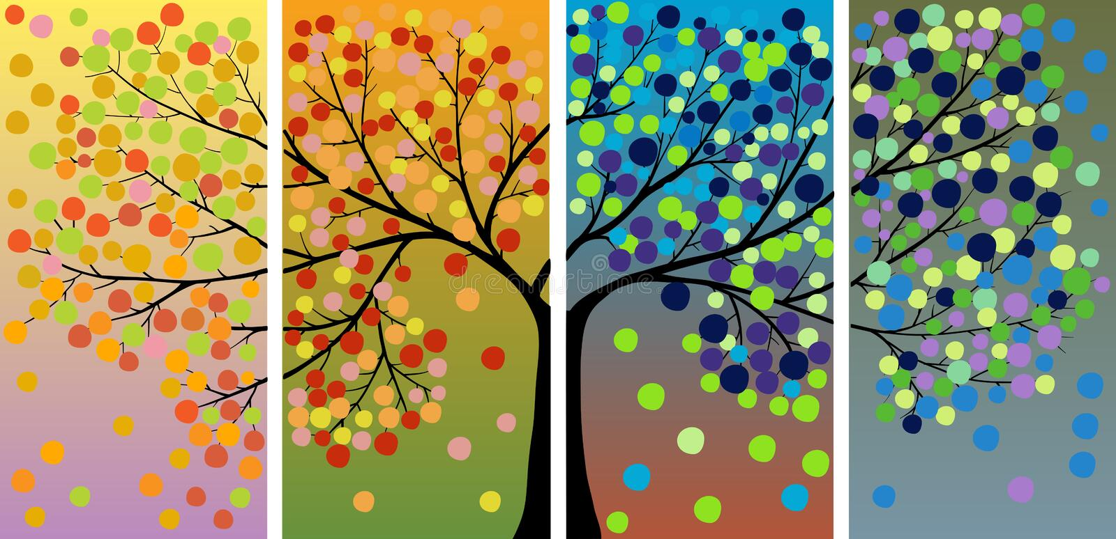 Four Season Tree Decoration Royalty Free Stock Images