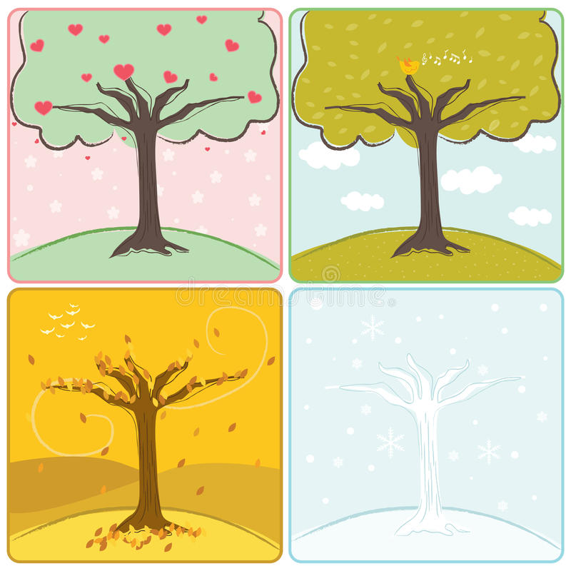 Download Four season trees stock vector. Image of cartoon, floral - 17474720