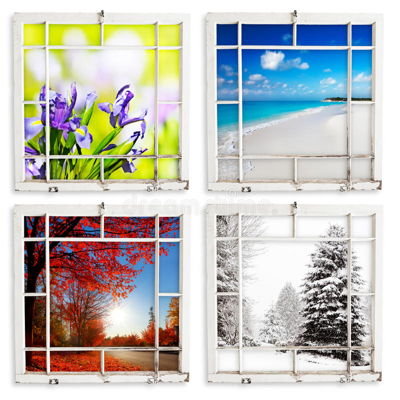 Four season views through grungy painted windows. Spring, summer, fall and winter views through grungy window frames. Clipping paths for frames royalty free stock photos