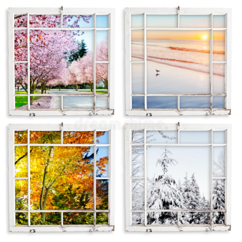 Four season views throgh grungy painted windows. Spring, summer, fall and winter views through grungy window frames. Clipping paths for frames stock photo