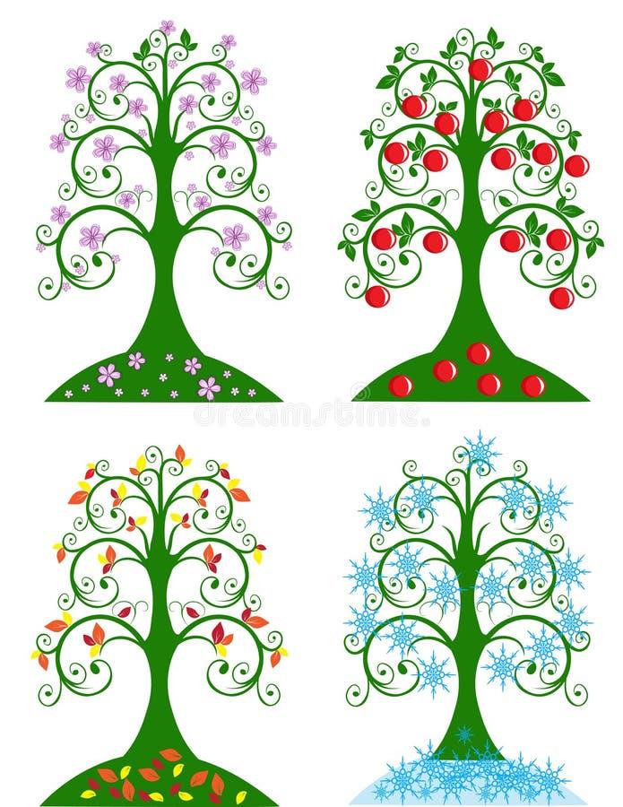 Four Seasonal tree stock illustration