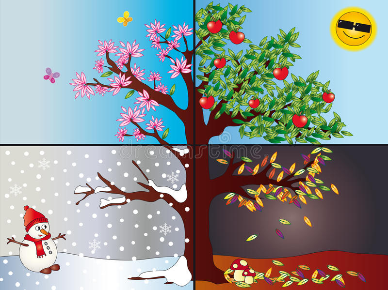 Download Four seasons stock illustration. Image of illustration - 14387722